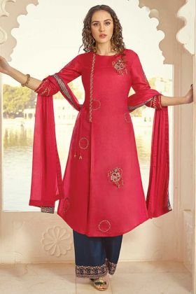 Elegant Red Color Party Wear Plazzo Style Suit