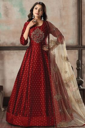 Elegant Red Color Tafera Butti Readymade Gown Style Party Suit