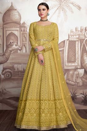 Elegant Yellow Foux Georgette Anarkali Salwar Suit