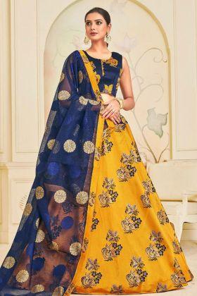 Elegant Art Silk Wedding Lehenga In Yellow Color Printed Work
