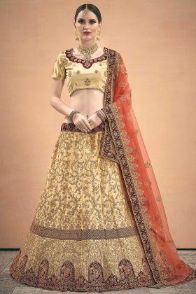 Elegant Collection Satin Wedding Lehenga Choli Beige Color