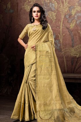 Elegant Golden Cotton Silk Saree