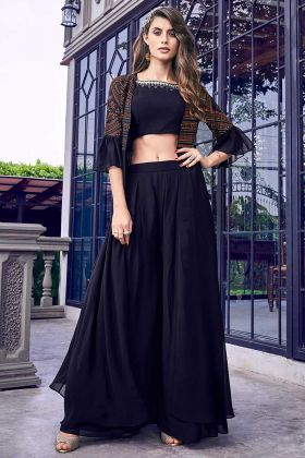 Elegant Looking Party wear Indo-Western Dress Navy Blue Color