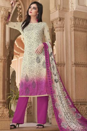 Elegant Looking Printed Cotton Suit In Off-White And Pink Color