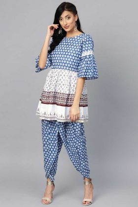 Elegant Looking Readymade Blue Top And Cotton Dhoti