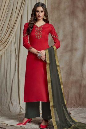 Elegant Looking Red Resham Embroidery Soft Silk Festival Straight Salwar Suit