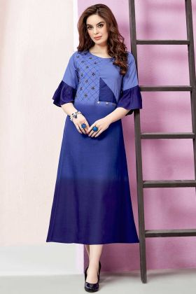 Embellishment Work Rayon Slub Party Wear Kurti In Blue Color