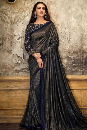 Embossed lycra Party Wear Saree Blue Color
