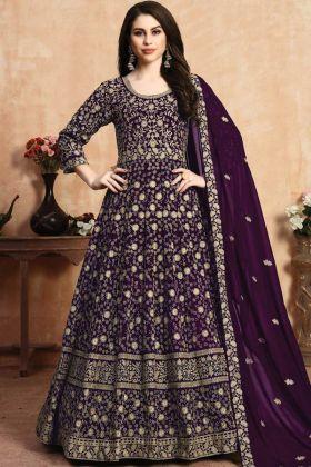 Embrodered Work Purple Color Anarkali Suit