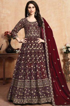 Embrodered Work Maroon Color Anarkali Suit