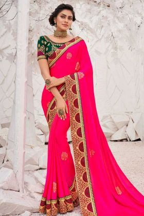 Embroderied Saree Satin Georgette In Pink Color