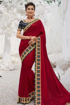 Embroderied Saree Satin Georgette In Red Color