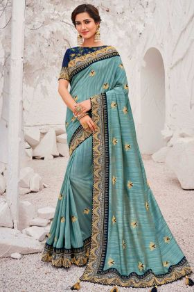 Embroderied Saree Satin Georgette In Teal Blue Color