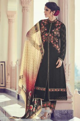 Embrodery With Stone Work Salwar Suit In Black Color