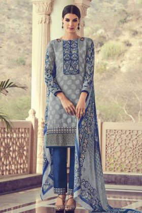 Embrodery With Stone Work Salwar Suit In Grey Color