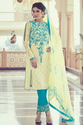 Embrodery With Stone Work Salwar Suit In Light Yellow Color
