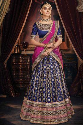 Embroidered Blue Jacquard Wedding Special Lehenga Choli
