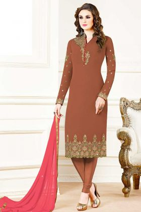 Embroidered Brown Color Georgette Salwar Suit