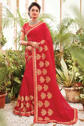 Embroidered Chanderi Silk Red Saree For Upcoming Festival