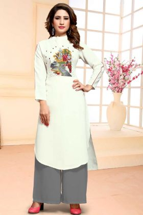Embroidered Cotton Dress Material White Salwar Suit