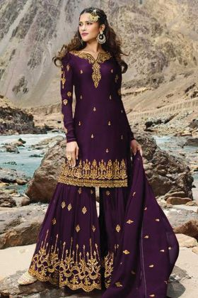 Embroidered Dark Purple Asymmetric Pakistani Sharara Suit
