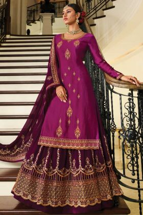 Embroidered Georgette Purple Heavy Indo Western Salwar Kameez