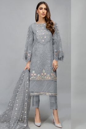 Embroidered Grey Color Organza Fabric Pakistani Style Salwar Dress
