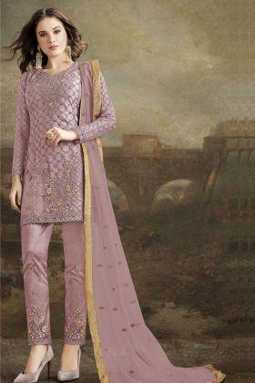 Embroidered Purple Butterfly Net Pakistani Salwar Kameez
