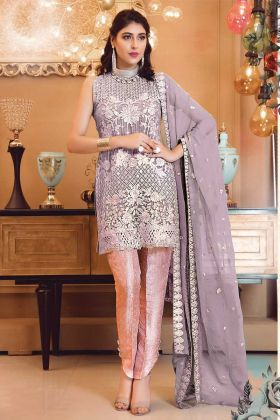 Embroidered Purple Patch Work Pakistani Suit
