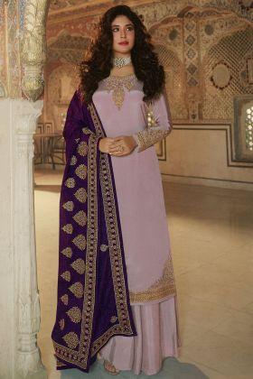 Embroidered Rangoli Lavender Georgette Fantastic Heavy Suit