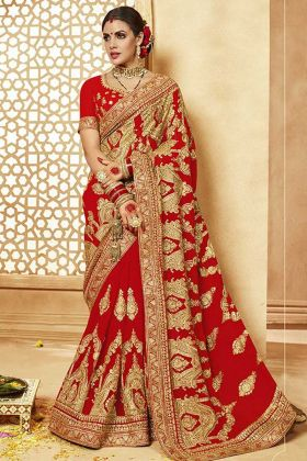 Embroidered Red Blouse With Georgette Saree