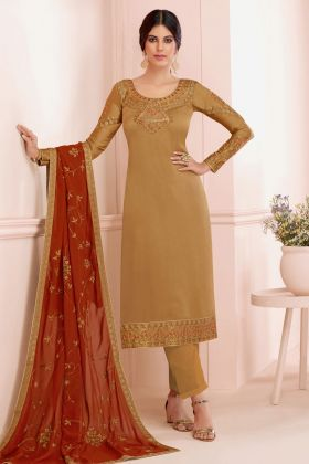 Embroidered Satin Georgette Pakistani Dress in Golden Color