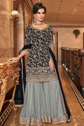 Embroidered Sharara Dress In Black Color With Net Dupatta