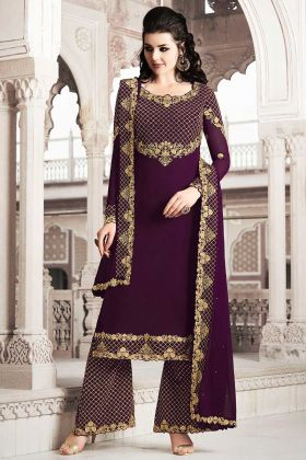 Embroidered Work Georgette Palazzo Suit In Wine