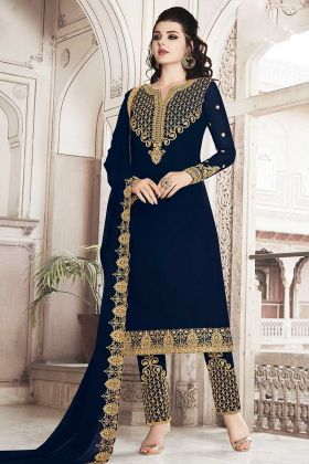 Embroidered Work Pant Style Salwar Suit In Navy Blue