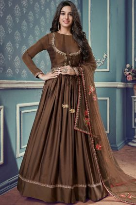 Embroidered Brown Party Wear Anarkali Suit