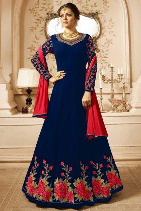 Embroidered Georgette Designer Anarkali Suit In Navy Blue Color
