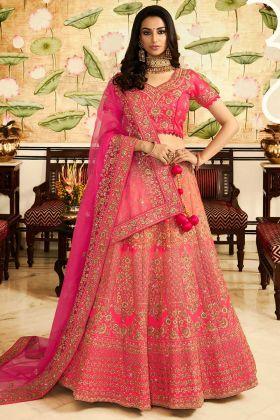 Embroidered Heavy Silk Designer Pink Bridal Lehenga