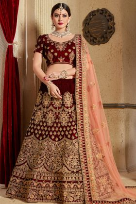 Embroidered Maroon Velvet Bridal Lehenga