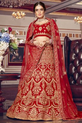 Embroidered New Unique Bridal Lehengas Red Color