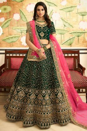 Embroidered Pine Green Velvet Bridal Lehenga Choli