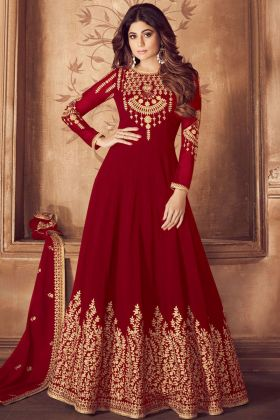 Embroidered Pure Georgette Red Salwar Suit