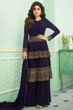 Embroidered Purple Palazzo Suit With Real Georgette Fabric