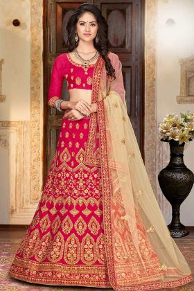Embroidered Work Dark Pink Reception Lehenga For Bride