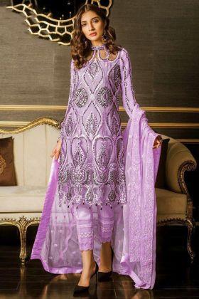 Embroidered Work Heavy Net Purple Pakistani Dress Pattern