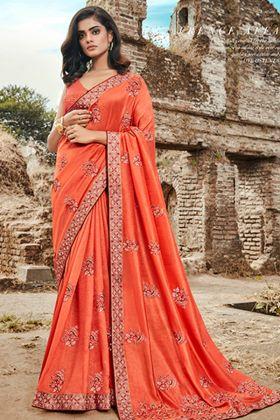 Embroidered Work Orange Color Art Silk Wedding Saree
