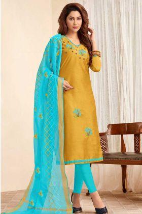 Embroidered Work Slub Cotton Straight Salwar Kameez Mustard Yellow