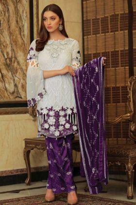 Embroidery Fox Georgette Purple Pakistani Suit