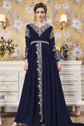 Embroidery Georgette Navy Blue Wedding Gown