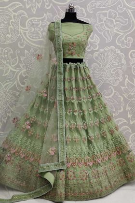 Embroidery Net Green Bridal Lehenga Choli With Dupatta